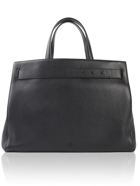 AVGVS.S2.Adelae.pebble.leather.tote.work.bag.computer.laptop.compartment.black.1.front