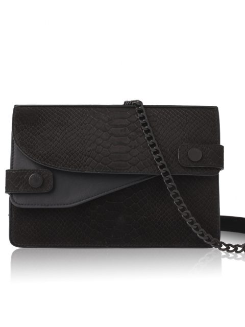 AVGVS.S2.Nerium.stamped.calf.python.leather.textured.matte.calf.mini.clutch.crossbody.black.1.front